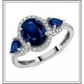 Sapphire and Diamond Halo Three-Stone Ring