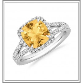 Citrine Ring 18k White Gold