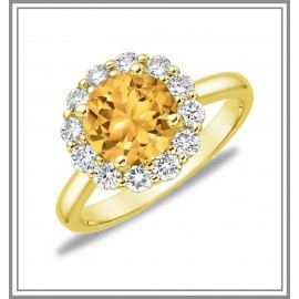 Citrine Lotus Flower Ring 18k Yellow Gold