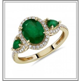 Emerald and Diamond Halo Three Stone Ring
