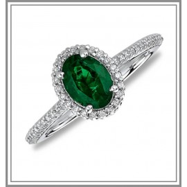 18K White Gold Emerald Gemstone Ring