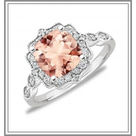 Morganite 18K White Gold Gemstone Ring