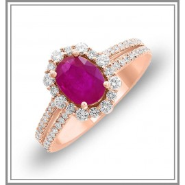 Oval RubyDiamond Ring in 14kt Rose Gold